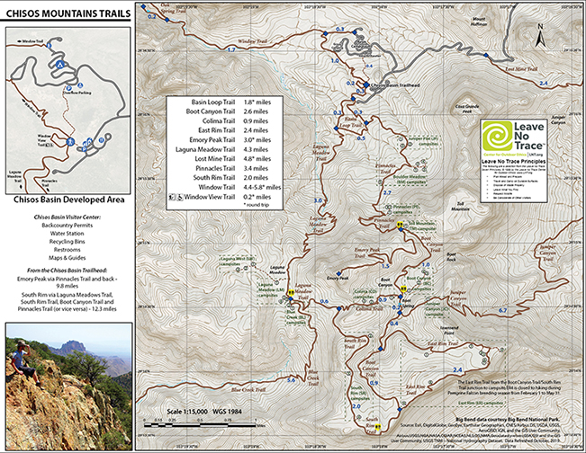 Chisos Mountains Trails Map 2020
